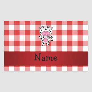Personalized name cow red picnic checkers sticker