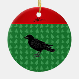 Personalized name crow green christmas trees christmas ornaments