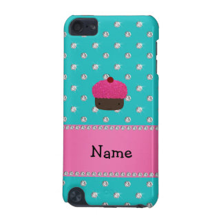 Personalized name cupcake turquoise diamonds iPod touch 5G cover