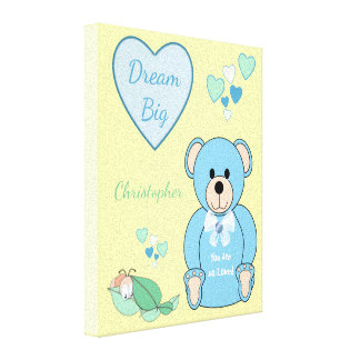 Personalized name Cute blue Teddy Bear Nursery Canvas Print