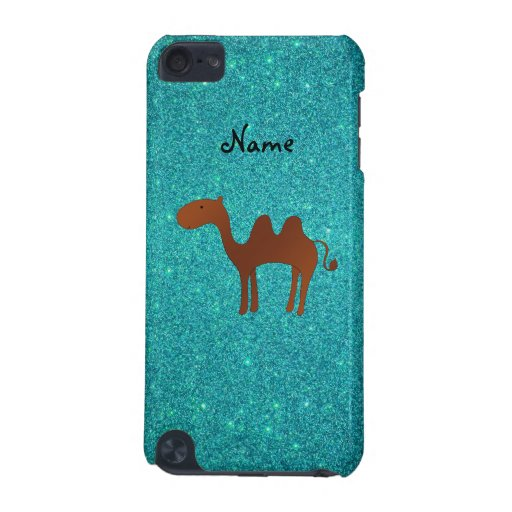 Personalized name cute camel turquoise glitter iPod touch (5th generation) cover