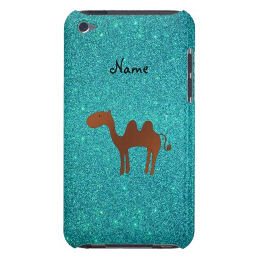 Personalized name cute camel turquoise glitter iPod Case-Mate cases