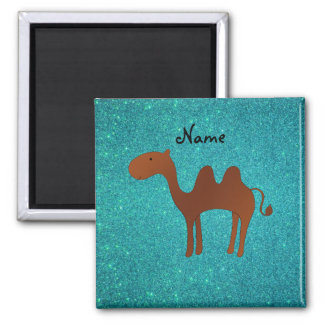 Personalized name cute camel turquoise glitter magnet