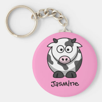 Personalized Name - Cute Cartoon Cow Keychain