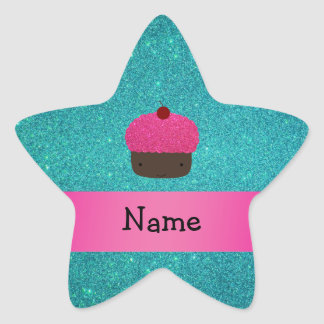Personalized name cute cupcake turquoise glitter star stickers