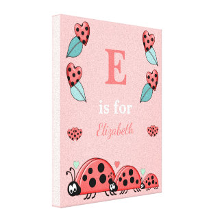 Personalized name Cute Ladybirds Nursery Canvas Print
