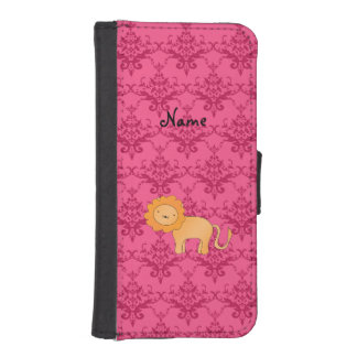 Personalized name cute lion pink damask iPhone SE/5/5s wallet case