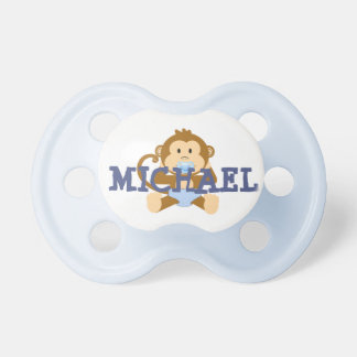 Personalized Name Cute Monkey Baby Blue Pacifier