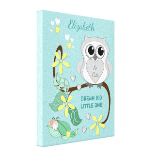 Personalized name Cute Owl Nursery green Canvas Print