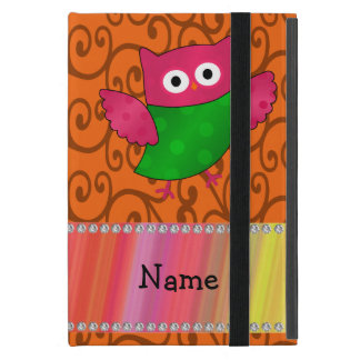 Personalized name cute owl orange swirls cover for iPad mini