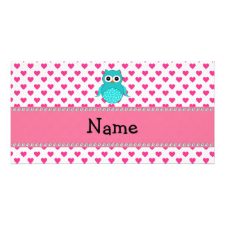 Personalized name cute owl photo greeting card