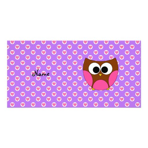 Personalized name cute owl picture card