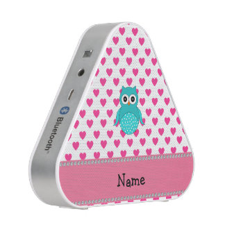 Personalized name cute owl pink hearts blueooth speaker