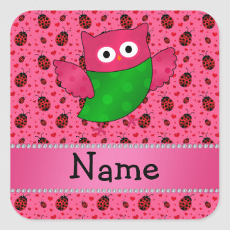 Personalized name cute owl pink ladybugs stickers
