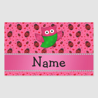 Personalized name cute owl pink ladybugs sticker