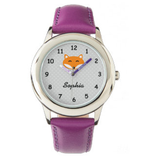 Personalized name cute red fox purple girls watch
