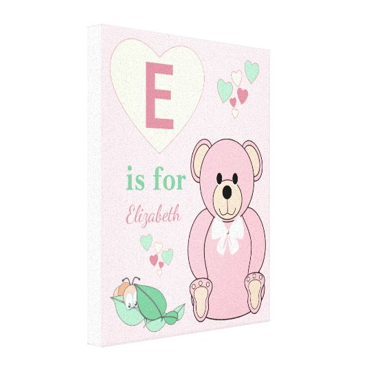 Personalized name Cute Teddy Bear Nursery pink Canvas Print