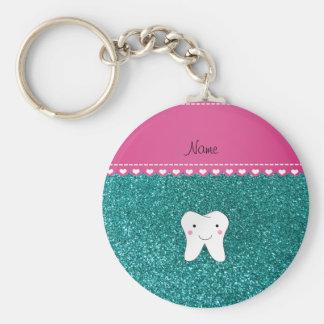 Personalized name cute tooth aqua glitter keychain