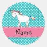Personalized name cute unicorn round stickers