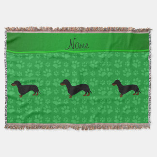 Personalized name dachshund green paws throw blanket