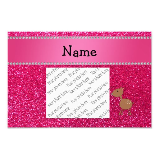 Personalized name deer rose pink glitter photograph