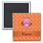 Personalized name devil pig orange pumpkins square magnet