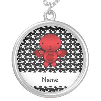 Personalized name devil skulls round pendant necklace