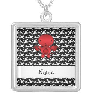 Personalized name devil skulls square pendant necklace