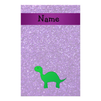 Personalized name dino purple glitter stationery