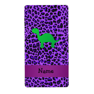 Personalized name dino purple leopard shipping label