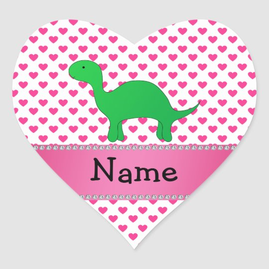 Personalized name dinosaur pink hearts polka dots heart sticker