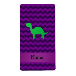 Personalized name dinosaur purple chevrons custom shipping labels