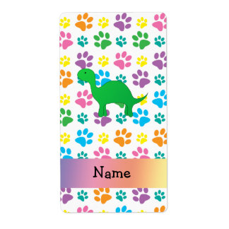 Personalized name dinosaur rainbow paws shipping labels