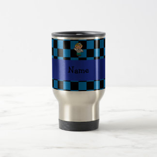 Personalized name doctor blue checkered travel mug