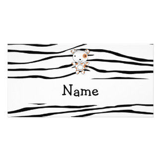 Personalized name dog zebra stripes picture card