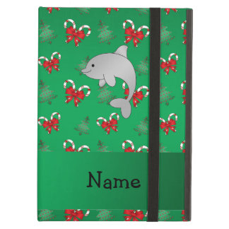 Personalized name dolphin green candy canes bows iPad air cover