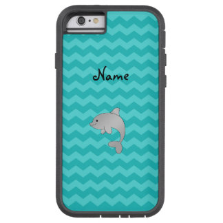 Personalized name dolphin turquoise chevrons tough xtreme iPhone 6 case