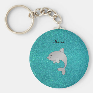 Personalized name dolphin turquoise glitter basic round button keychain