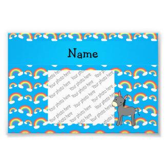 Personalized name donkey blue rainbows photo print