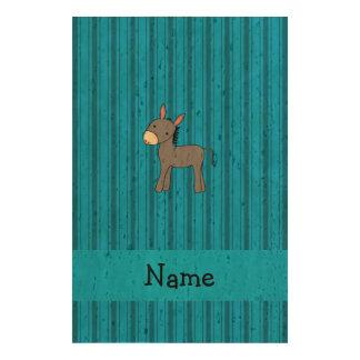 Personalized name donkey blue stripes cork paper prints