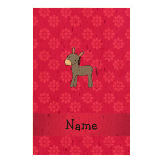 Personalized name donkey pink flowers cork fabric