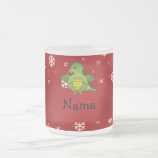 Personalized name dragon red snowflakes frosted glass mug