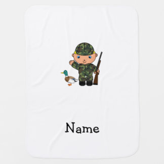 Personalized name duck hunter baby blanket