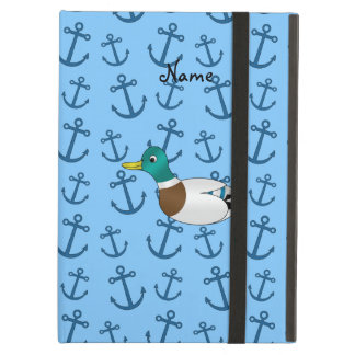 Personalized name duck pastel blue anchors iPad folio cases