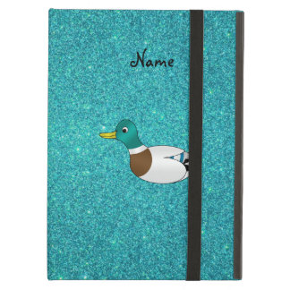 Personalized name duck turquoise glitter iPad cover