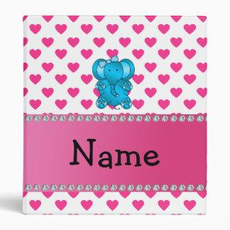 Personalized name elephant pink hearts polka dots vinyl binders