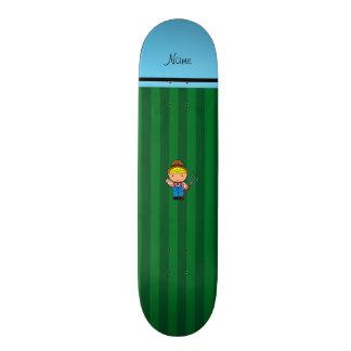 Personalized name farmer green stripes custom skateboard