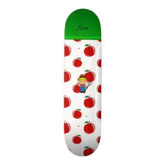 Personalized name farmer red apples skateboard deck
