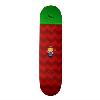 Personalized name farmer red chevrons skateboard