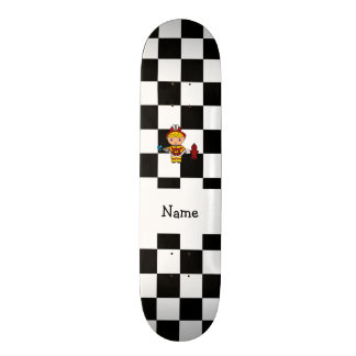 Personalized name fireman black and white checkers skate deck